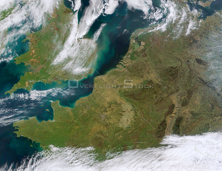 EARTH The Netherlands -- 08 Apr 2002 -- This MODIS true-color image, depicts northwestern Europe. Visible are the Republic of Ireland