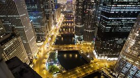 Bird's Eye: Iconic View Down Chicago River's Four Bridges & Marina Towers Lit Up