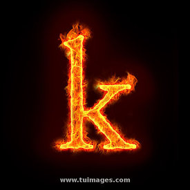 fire alphabets, small letter k