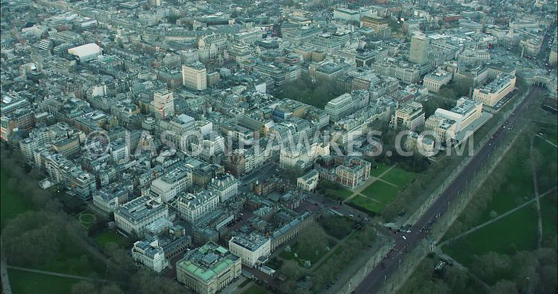 London Aerial Footage of St James's with Pall Mall and The Mall.