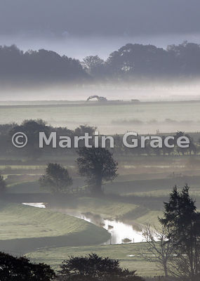 Early morning mist, October, Lyth Valley, Lake District National Park, Cumbria, England