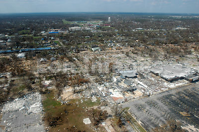 Destroyed houses in Gulfport, MS after Hurricane Katrina