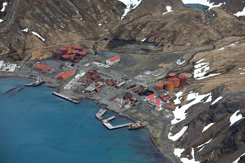 Aerial view of Grytviken, an abandoned whaling station, South Georgia, Antarctica, December 2006