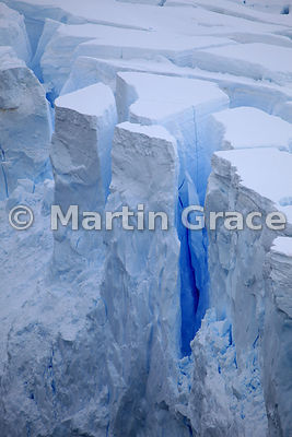 Old, blue ice in face of glacier in Neko Harbour, Andvord Bay, Antarctic Peninsula