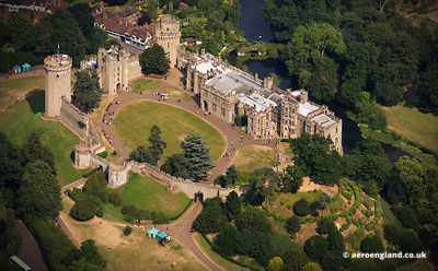 aerial photograph of Warwick Castle  Warwickshire, England UK