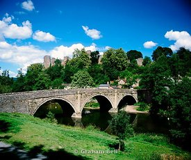 dinham bridge river teme and ludlow castle shropshire england