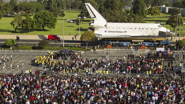 Footage from Mission 26: The Big Endeavour, as the Space Shuttle Endeavour moved through the streets of LA to its new home at the California Science Center.