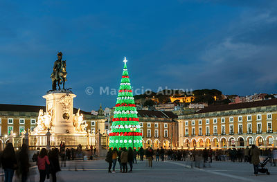The traditional Christmas tree at Terreiro do Paço, the historic centre of Lisbon. Portugal