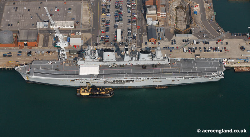 aerial photograph of HMS Ark Royal in Portsmouth Harbour Hampshire England UK