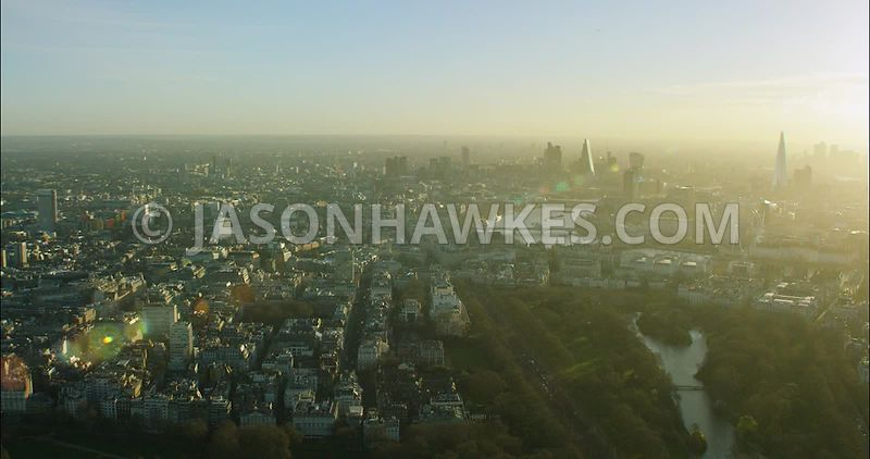 London Aerial Footage of The Mall and St James's Park.