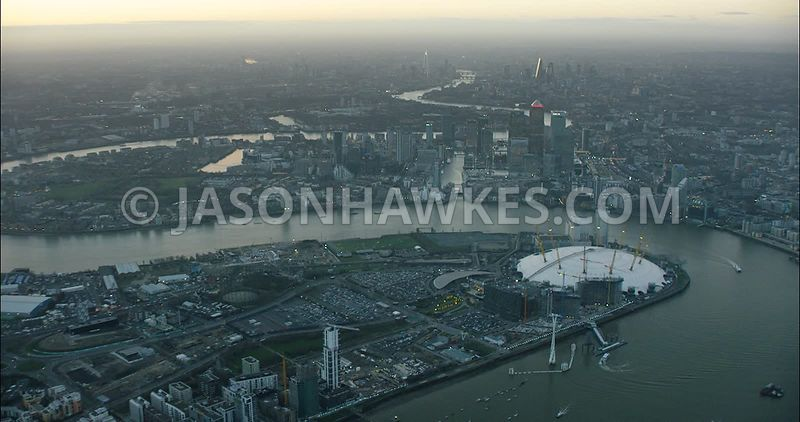 London Aerial Footage of O2 Arena with Canary Wharf.