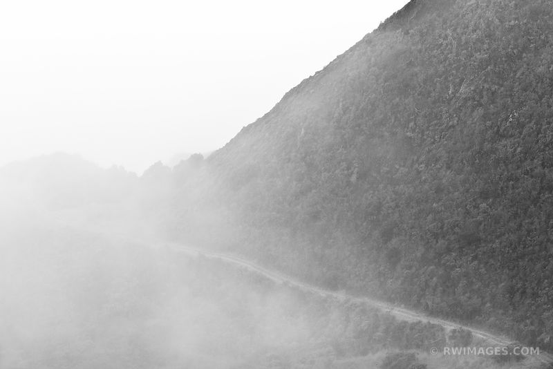 FOGGY MOUNTAIN ROAD BIG SUR CALIFORNIA BLACK AND WHITE