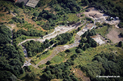 aerial photograph showing the derelict remains of the disused  Sheffield Ski Village West Yorkshire England UK