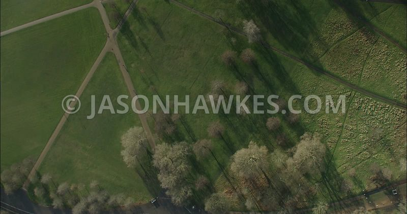 London Aerial footage, paths in Hyde Park.