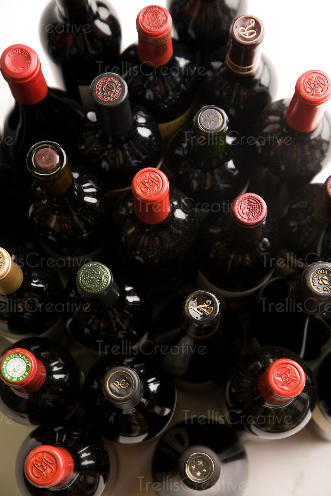 Many bottles of red wine to choose from