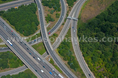 Aerial view of motorway junction