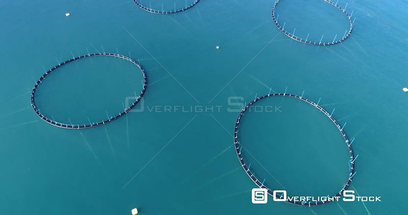 Aerial Flying Over Ocean Fish Farm Pens and Boat, Iceland