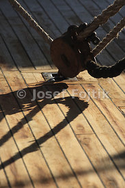 Detail of a block anchored on the deck, four masted barque Sedov