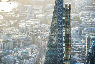 Close up aerial view of the Leadenhall Building, City of London
