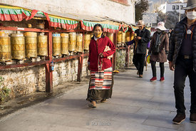 Potala Palace, Lhasa, Tibet . Pilgrims circuambulating around the palace.