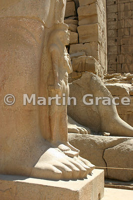 Karnak Temple of Amun - Base of Colossus of Ramesses II (First Court)