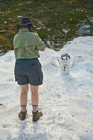 Snowman made by Karen Rentz and friends in Mt. Forgotten Meadows, Mt. Baker-Snoqualmie National Forest, Cascade Mountains, Washington, USA, August, 2008_WA_4596