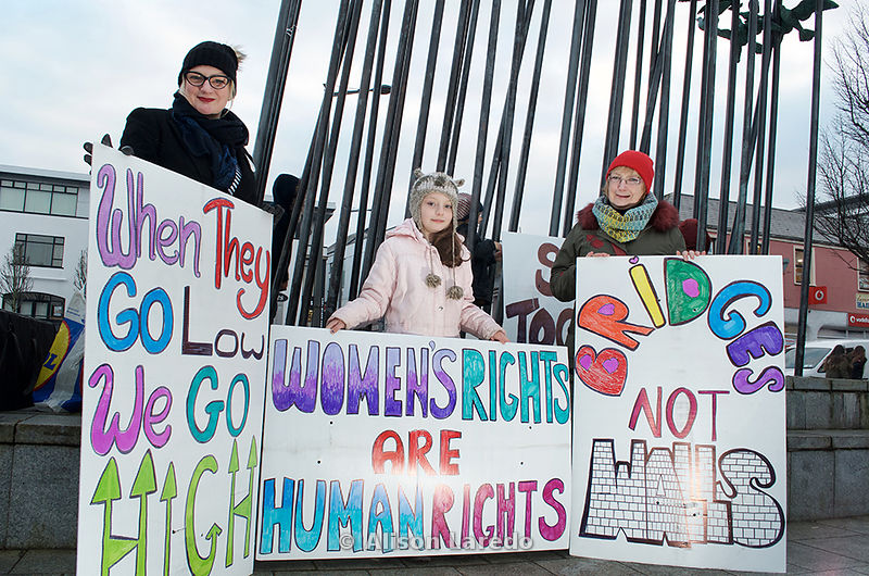 3 generations of one family at Women's March on Castlebar - Bridges not Walls Rally. .©Alison Laredo.#WomensMarch #BridgesNotWalls #Castlebar