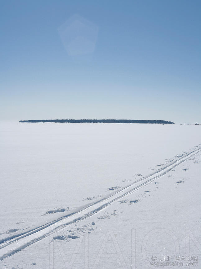 Ski tracks on frozen sea