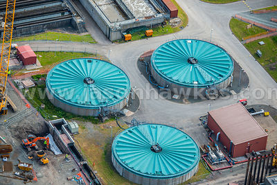Aerial view of industrial estates, Clydebank, Scotland