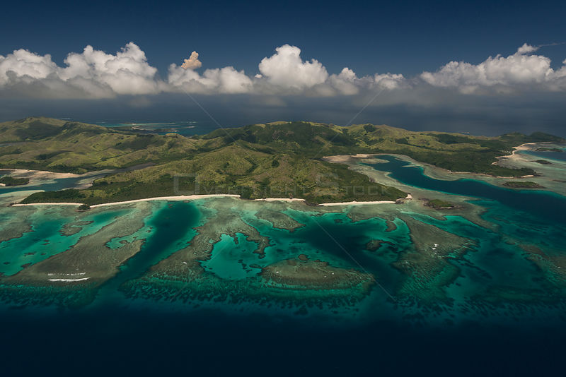 Aerial view of reefs near Nacula island, Western Division, Fiji. December 2013.