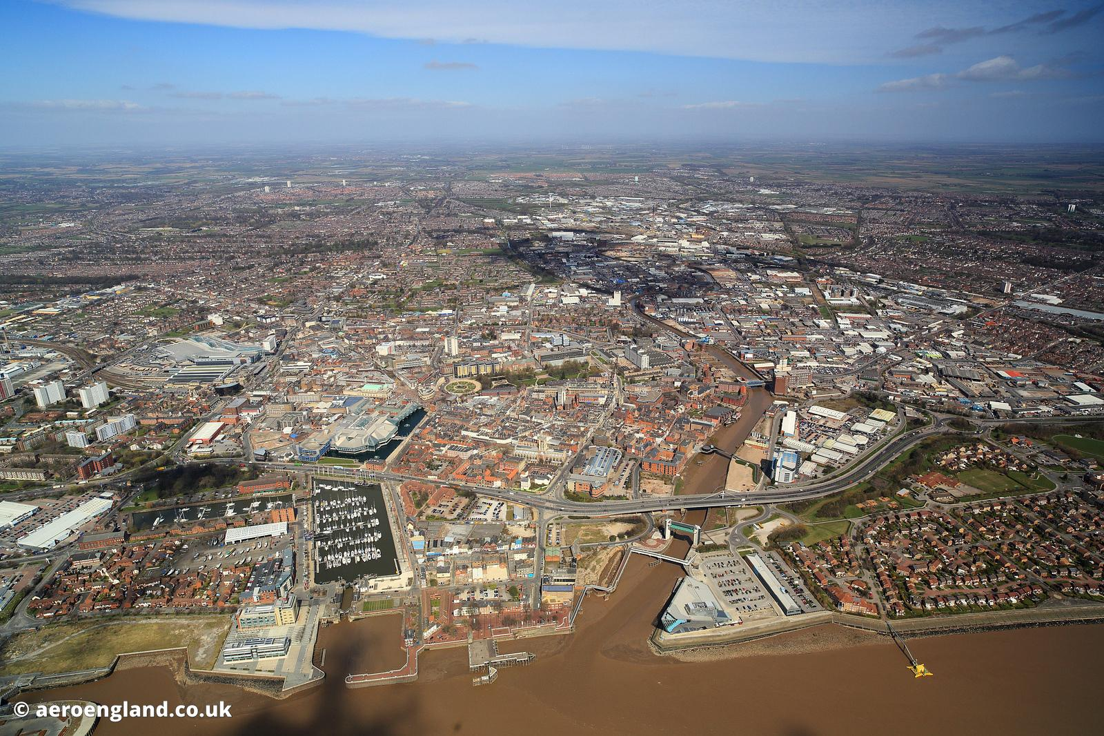 aerial photograph of Kingston upon Hull in the East Riding of Yorkshire England UK