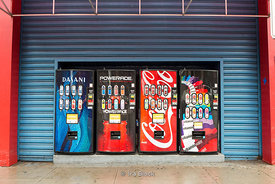Vending machines on the street in Chelsea, NY.