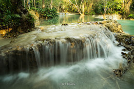 Kuang Si Falls (Tat Kuang Si Waterfalls), a three tier waterfall about 29 kilometres (18 mi) south of Luangprabang, Laos.