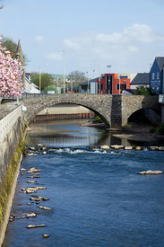 """The Old Bridge"" and River Ogmore, Bridgend, South Wales, UK."