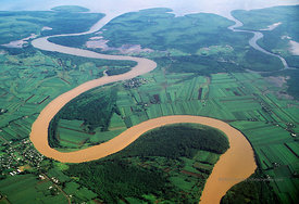 Fiji, big island, winding river, aerial