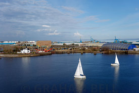 View looking down on yachts, Cardiff Bay, Cardiff, South Wales, UK.
