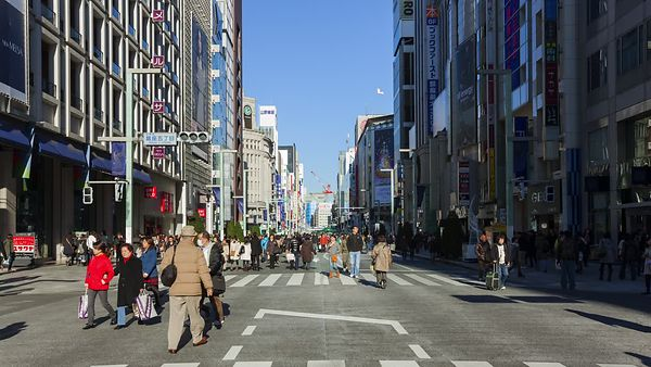 Medium Shot: Crowds Strolling Down A Pedestrian Street In Ginza