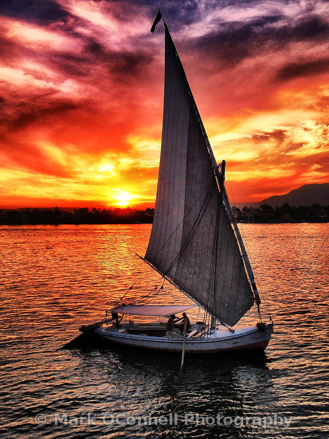 Sunset over a Felucca on the Nile