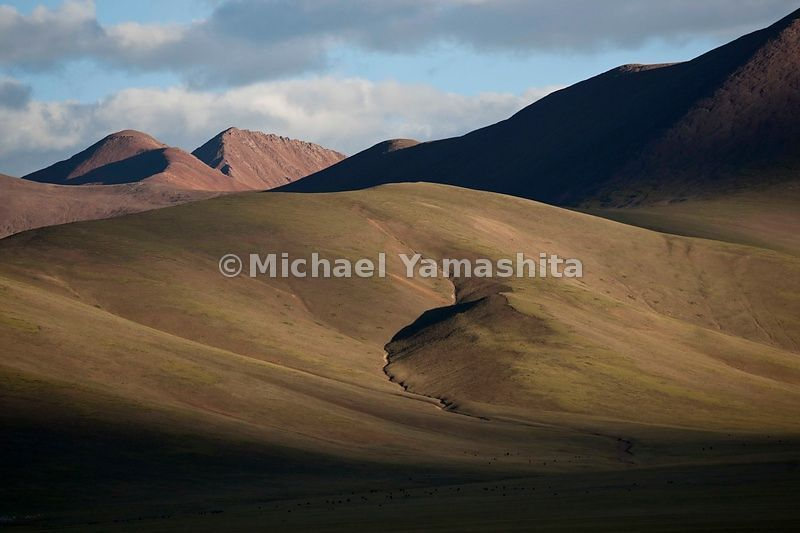 Summer sun turns the sloping mountains above Namtso Lake a golden hue. The vast tracts of grazing land nearby make Namtso, the highest saltwater lake in the world, a favorite spot for Tibetan nomads.