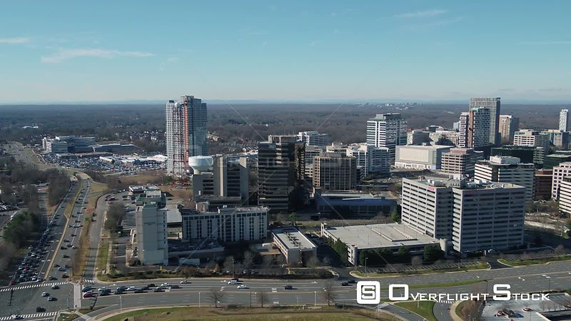 Tysons, Virginia, USA. Pan left to right across Tysons Corner skyline.