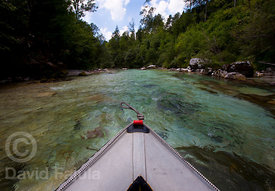 Paddling down the Soča river in a mini-raft
