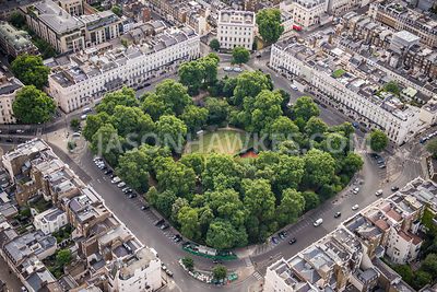 Aerial view of London, Belgrave Square Gardens.