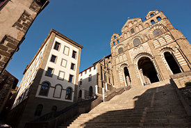 Facade and stairs of the cathedral, Le Puy en Velay