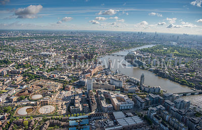 Aerial view of London Chelsea Harbour and Imperial Wharf
