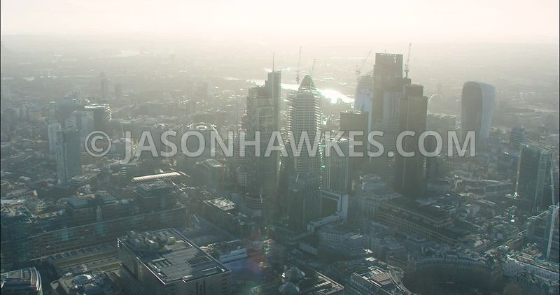 London Aerial footage, Finsbury Circus with City of London skyline.