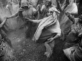 This black and white photograph of the widows of Vrindavan celebrating holi shows their joy for being able to be a part of this colourful festival but it also shows the lack of colours in their lives. Being able to play holi is just one step forward to their liberation from an age old practice of being labelled as inauspicious as a lot has to be done for their upliftment