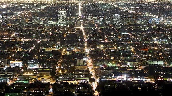 Bird's Eye: Close Up On Glistening Roads Of Tinsel Town, L.A.
