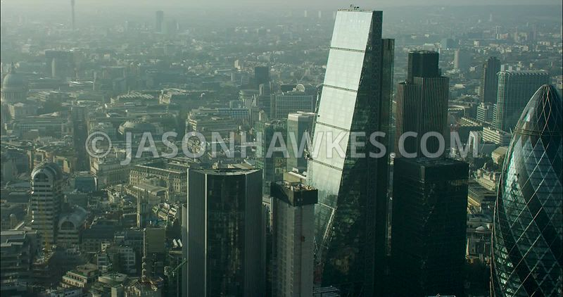 London Aerial Footage Leadenhall Building and 30 St Mary's Axe.