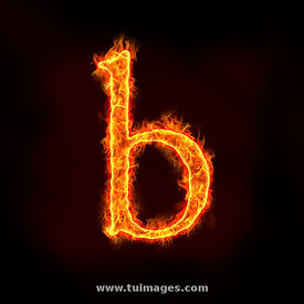 fire alphabets, small letter b