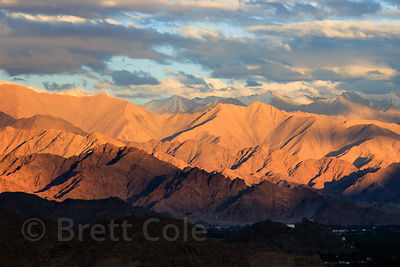 Golden light on the Himalayas near Phyang village, Ladakh, India